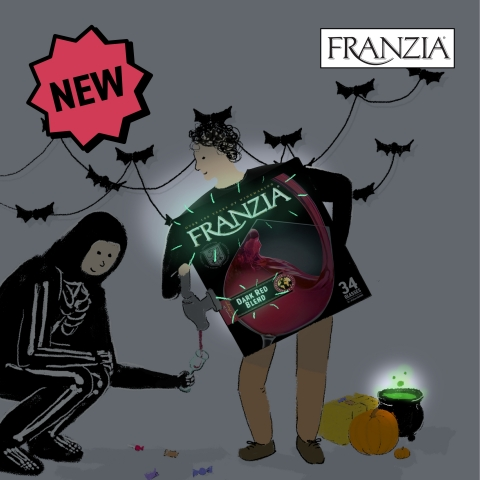 Franzia's boxed wine Halloween costume has a trick and a treat up its sleeve, drink wine straight from the Franzia box costume! (Photo: Business Wire)