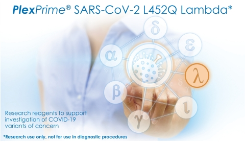 PlexPrime® SARS-CoV-2 L452Q Lambda* is a single well mix designed to detect the L452Q spike mutation of SARS-CoV-2 found in the C.37 variant of interest (Lambda)1, in addition to an RdRp gene target of SARS-CoV-2. This reagent is the third product in the PlexPrime® SARS-CoV-2 Genotyping portfolio and can be used as a stand-alone reflex or combined with PlexPrime® SARS-CoV-2 Alpha/Beta/Gamma+, and/or the PlexPrime®P681R Delta reagents. (Photo: Business Wire)