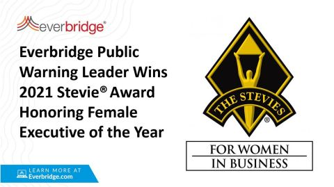 Everbridge Public Warning Leader Wins 2021 Stevie Award Honoring Female Executive of the Year (Graphic: Business Wire)
