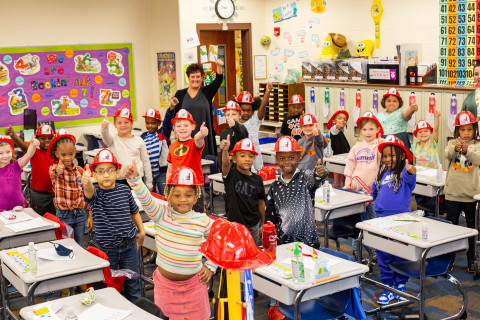Barbara Fisher's first-grade classroom from Seiberling Community Learning Center in Akron, Ohio participates in National Junior Fire Marshal Day. (Photo: Business Wire)