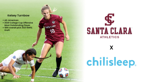 Chilisleep has signed Kelsey Turnbow to an NIL partnership. Earlier this year, Turnbow, a current MBA student at Santa Clara, was drafted 18th overall in the NWSL draft by the Chicago Red Stars. (Photo: Business Wire)