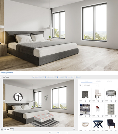 """2D image of room, before and after 3D furniture additions using Nextech AR's """"3D Rooms"""" technology. (Photo: Business Wire)"""