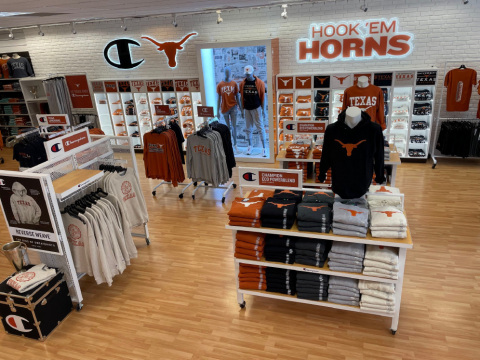 Delivering on its commitment to elevating the University of Texas' Longhorn brand, HanesBrands has already completed work on a new, one-of-a-kind Champion shop experience at The Co-op in Austin. Fan response to the apparel has been very positive – with near record sales during the first football gameday. (Photo: Business Wire)