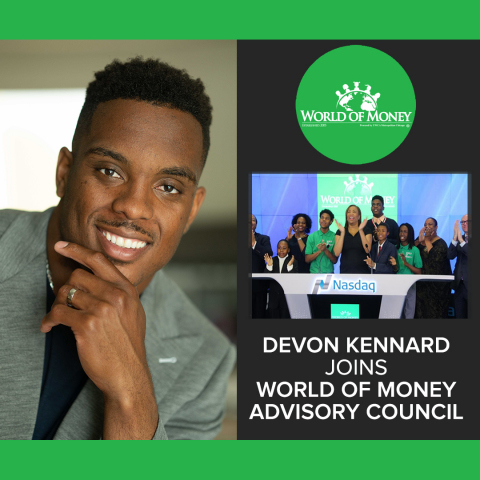 Devon Kennard of the Arizona Cardinals and Entrepreneur Joins World of Money National Advisory Council to empower youth through financial education and expand World of Money financial education programs throughout the US. (Graphic: Business Wire)