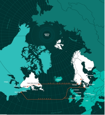 The Leif Erikson subsea fiber cable will form a northern route between Norway and Canada with 100% renewable energy feed from both sides of the Atlantic. (Graphic: Business Wire)