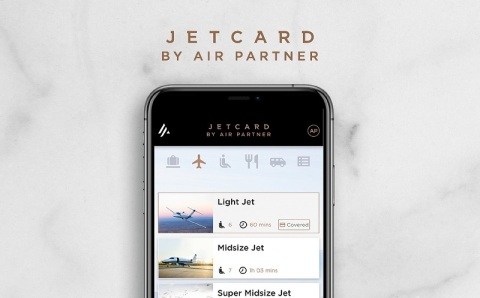 Interface of new mobile app for Air Partner's JetCard Membership Program (Photo: Business Wire)