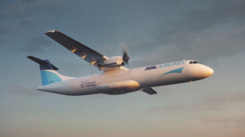 An ASL Aviation Holdings ATR 72 featuring Universal Hydrogen's hydrogen-electric powertrain compatible with its modular capsule technology (rendering). (Photo: Business Wire)