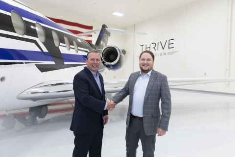 Las Vegas-based private aviation charter operator Thrive Aviation has placed an order for three additional Cessna Citation Longitude business jets. Pictured: Lannie O'Bannion, senior vice president of Sales and Flight Ops, Textron Aviation (left) and Curtis Edenfield, CEO of Thrive Aviation. (Photo: Business Wire)