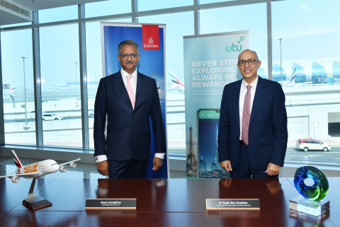 Asad Jumabhoy, co-founder and CEO of utu, and Dr Nejib Ben Khedher, Divisional Senior Vice President Emirates Skywards (Photo: Business Wire)
