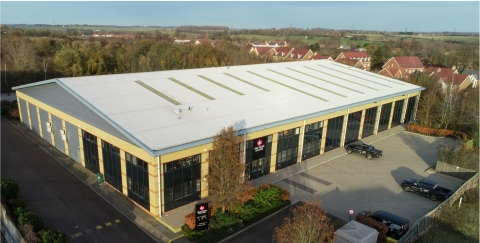 Datalec's Aerial Photo of the ACCS Manufacturing plant for aisle containment and cage solutions located in the UK (Photo: Business Wire)