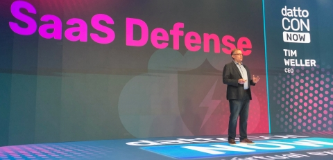 Datto CEO, Tim Weller, unveils Datto SaaS Defense during his keynote at DattoCon NOW (Photo: Business Wire)