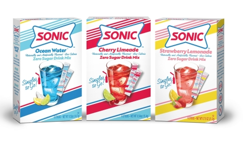 SONIC® Drive-In is debuting zero sugar, low-calorie drink mixes in its wildly popular Cherry Limeade, Ocean Water®, and Strawberry Lemonade flavors. (Photo: Business Wire)