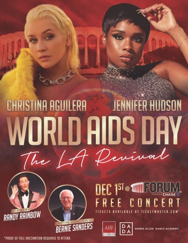 Christina Aguilera and Jennifer Hudson headline AHF's free World AIDS Day concert at The Forum in Los Angeles (Inglewood) on Wednesday, December 1, 2021. (Graphic: Business Wire)