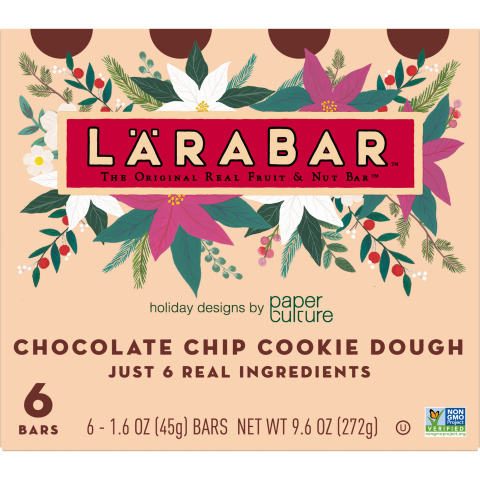 Lärabar has teamed up with stationery company, Paper Culture, to create original pieces of artwork that will appear on select Lärabar packaging for a limited time. The new holiday packaging will be available in four unique designs on Lärabar's most indulgent flavors including: Chocolate Chip Cookie Dough, Peanut Butter Chocolate Chip, Mint Chip Brownie and Peanut Butter Cookie. (Graphic: Business Wire)
