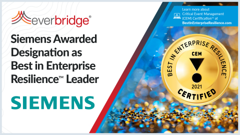 Siemens Awarded Designation as Best in Enterprise Resilience Leader (Photo: Business Wire)